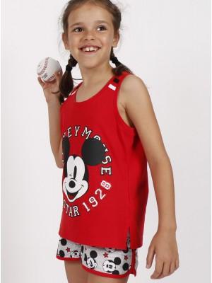 Pijama Verano Niña DISNEY Tween Chica Mickey All Stars Rojo Algodón