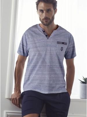 Pijama Verano Hombre ADMAS CLASSIC Light Stripes Azul Algodón