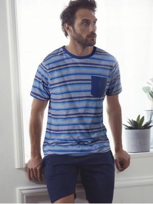 Pijama Verano Hombre ADMAS CLASSIC Soft Stripes Azul Algodón