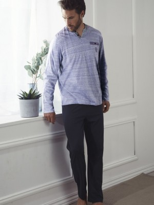 Pijama Verano Hombre ADMAS CLASSIC Larga Light Stripes Azul Algodón