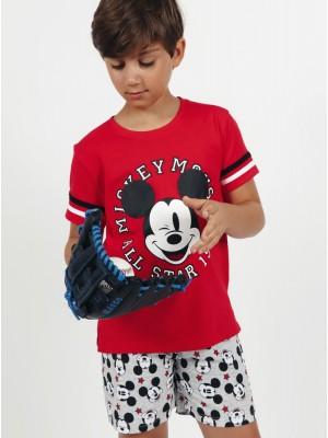 Pijama Verano Niño DISNEY Tween Chico Mickey All Stars Rojo Algodón