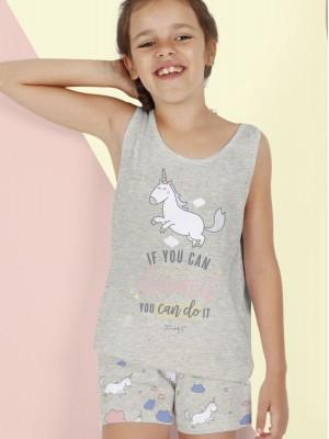 Pijama Verano Niña MR WONDERFUL Tween Chica Tirantes Unicornio Gris Jaspe Algodón