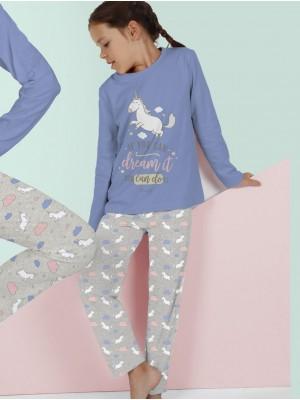 Pijama Verano Niña MR WONDERFUL Tween Chica Largo Unicornio Azul Algodón