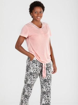 Pijama Verano Mujer PETTRUS Pantalón Largo Rosa Viscosa