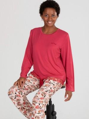 Pijama Verano Mujer PETTRUS Largo Burdeos Viscosa