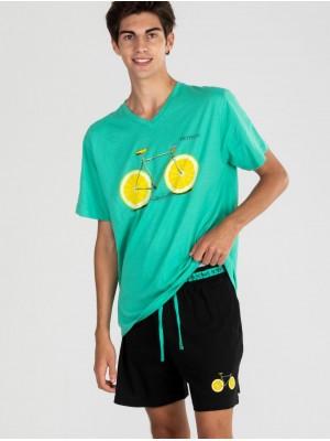 Pijama Verano Hombre PETTRUS Verde Bolsillos Algodón