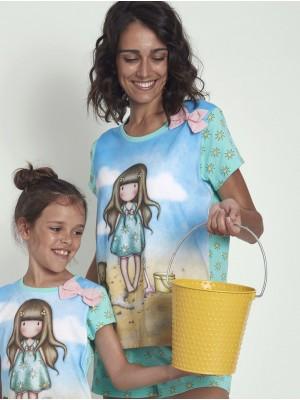 Pijama Verano Mujer SANTORO GORJUSS M-Rta Hello Summer Azul Algodón
