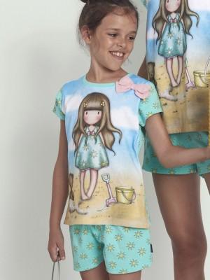 Pijama Verano Niña SANTORO GORJUSS Tween Chica M-Rta Hello Summer Azul Algodón