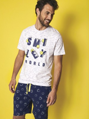 Pijama Verano Hombre SMILEY Hombre Iconic Blanco Algodón