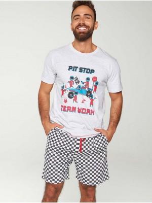 Pijama Verano Hombre MUYDEMI Pit Stop Blanco Negro Algodón