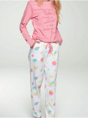 Pijama Verano Largo Mujer MUYDEMI Rosa Bolsillos Algodón