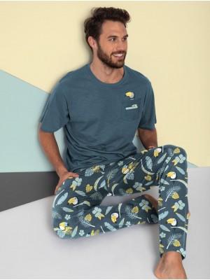 Pijama Verano Hombre MR WONDEFUL Largo Bolsillos Algodón