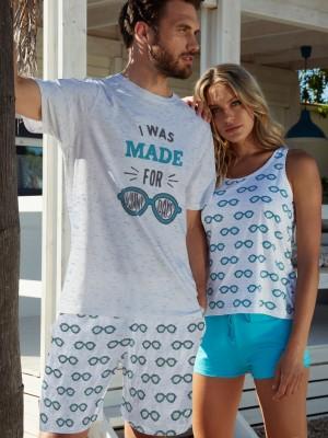 Pijama Familiar Verano Hombre ADMAS Sunglasses Bolsillos Azul Algodón