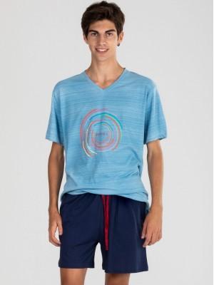 Pijama Verano Hombre PETTRUS Azul Bolsillos Algodón