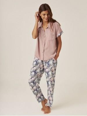 Pijama J&J Brothers Verano Mujer Camisa Manga Corta Pantalón Largo Rosa Viscosa
