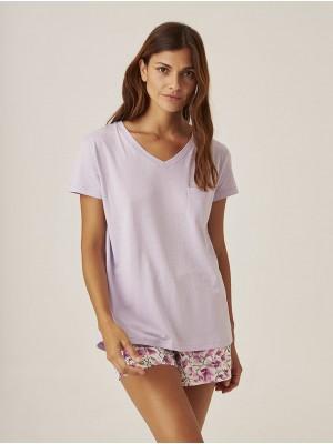 Pijama J&J Brothers Verano Mujer Malva Bolsillos Combinado Punto Tela