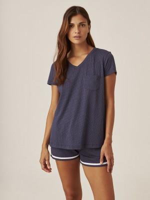 Pijama J&J Brothers Verano Mujer corto Azul Modal Algodón