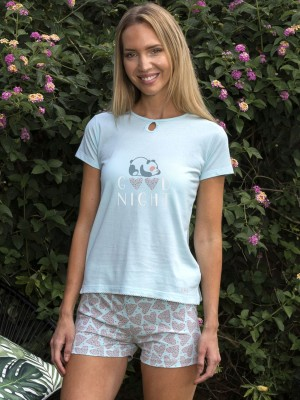 Pijama Verano Mujer BLANCA HERNÁNDEZ Azul Algodón