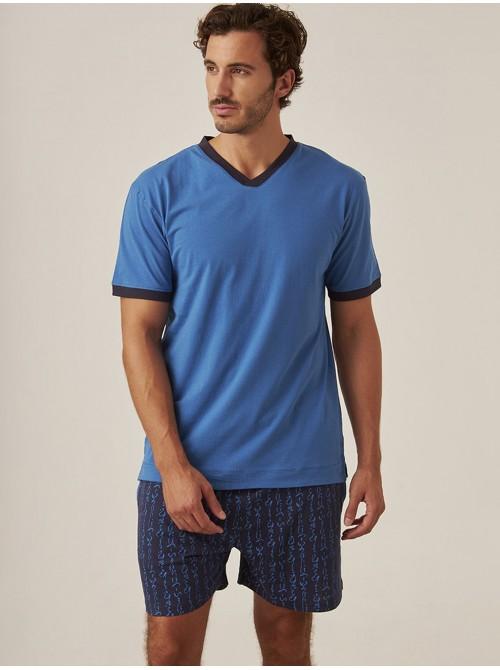 Pijama Verano Hombre J&J Brothers Azul Bolsillos Algodón