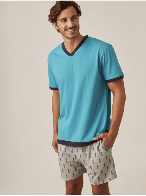 Pijama Verano Hombre J&J Brothers Turquesa Bolsillos Algodón