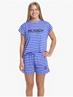 Homewear Verano Mujer MUNICH Rayas Azul Modal Algodón