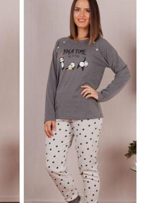 Pijama Invierno Mujer Rachas&Abreu Panda Felpa Gris