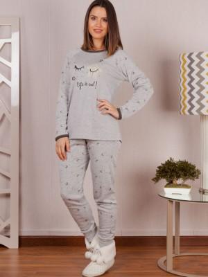 Pijama Invierno Mujer Rachas&Abreu Life Felpa Gris Tallas Grandes