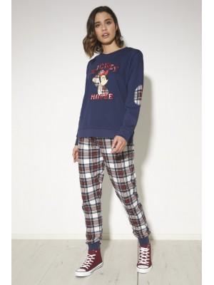 Pijama Mickey College MUJER DISNEY INVIERNO Marino Algodón