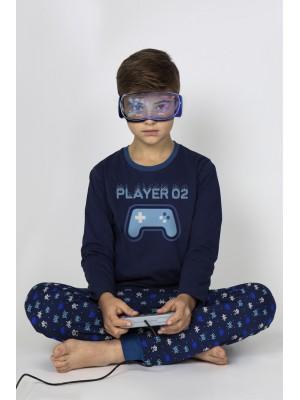 Pijama Tween Player NIÑO ADMAS INVIERNO Azul Algodón