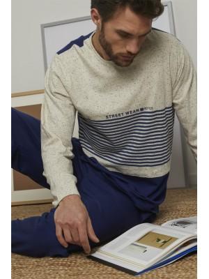 Pijama Street Wear HOMBRE ADMAS INVIERNO Marino Algodón