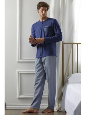 Pijama Mercury HOMBRE ADMAS CLASSIC INVIERNO Azul Algodón