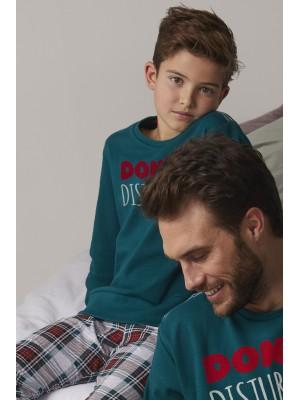 Pijama Niño Invierno ADMAS Tween Do Not Disturb Verde Algodón