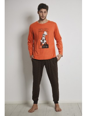 Pijama Orange Goofy HOMBRE DISNEY INVIERNO Naranja Algodón