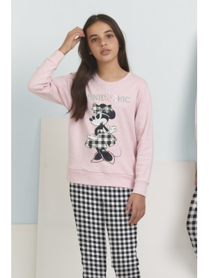 Pijama Tween Minnie Chic NIÑA DISNEY INVIERNO Rosa Algodón