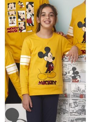 Pijama Tween Mickey Poses NIÑA DISNEY INVIERNO Mostaza Algodón