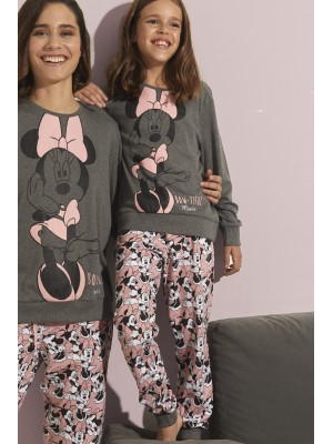 Pijama Tween Bowtiful Minnie NIÑA DISNEY INVIERNO Gris Algodón