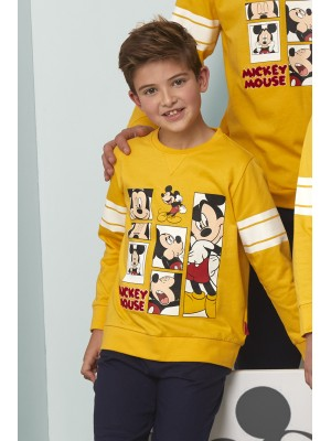 Pijama Tween Mickey Poses NIÑO DISNEY INVIERNO Mostaza Algodón