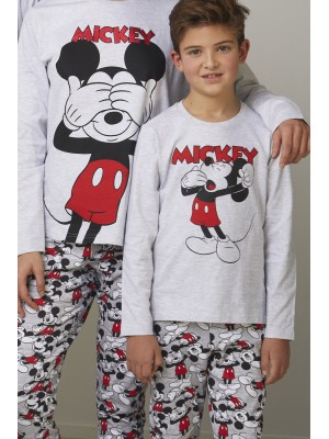 Pijama Tween Mickey NIÑO DISNEY INVIERNO Gris Jaspe Algodón