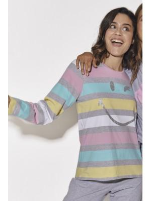 Pijama Rayas Pink MUJER SMILEY INVIERNO Gris Jaspe Algodón