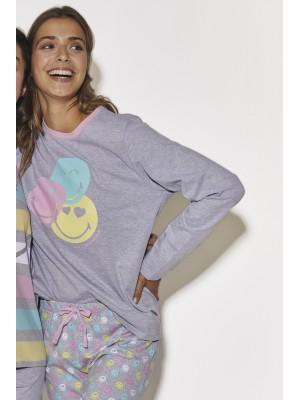 Pijama Pink MUJER SMILEY INVIERNO Gris Jaspe Algodón