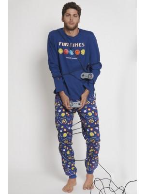 Pijama Game Over HOMBRE SMILEY INVIERNO Marino Algodón