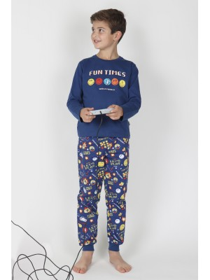 Pijama Tween Game Over NIÑO SMILEY INVIERNO Marino Algodón