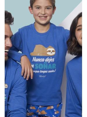 Pijama Tween Soñar NIÑO MR WONDERFUL INVIERNO Azul Algodón