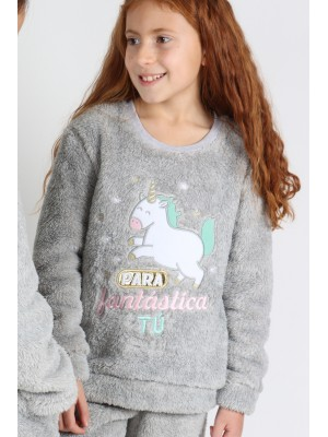Pijama Corel Tween Para Fantastica Tu NIÑA MR WONDERFUL INVIERNO Gris Jaspe
