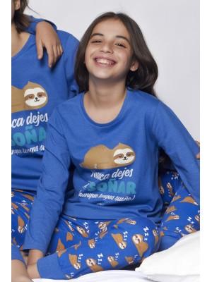 Pijama Tween Soñar NIÑA MR WONDERFUL INVIERNO Azul Algodón