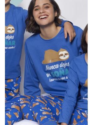 Pijama Soñar MUJER MR WONDERFUL INVIERNO Azul Algodón