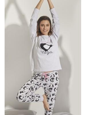 Pijama Panda Yoga MUJER ADMAS INVIERNO Gris Jaspe