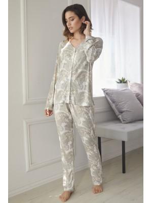 Pijama Abierto Natural Cashmere MUJER ADMAS CLASSIC INVIERNO Beige Viscosa