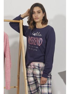 Pijama Hello Weekend MUJER ADMAS INVIERNO Azul Algodón