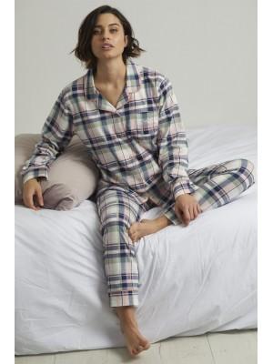 Pijama Abierto Hello Weekend MUJER ADMAS INVIERNO Cuadros Algodón